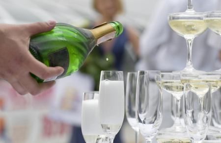Last drop falls into a glass of champagne Reklamní fotografie