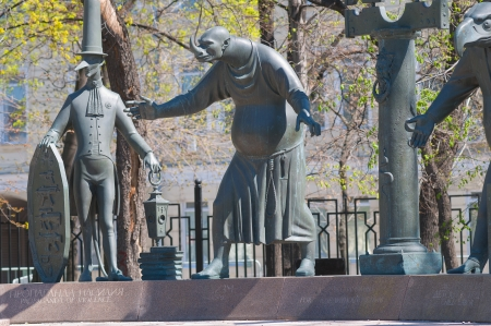 Promotion of violence, sadism. Detail of the monument The children victims of adult vices, Bolotnaya Square, Moscow
