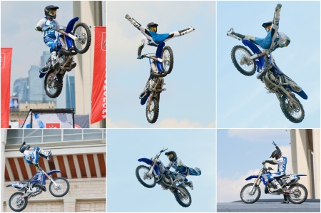 daredevil: RUSSIA, MOSCOW-JULY 13: motofristayler Anton Smirnov at the sports festival Moscow City Games 2013 in the program Moto Freestyle (FMX) in Moscow, Arena Luzhniki»; on July 13, 2013