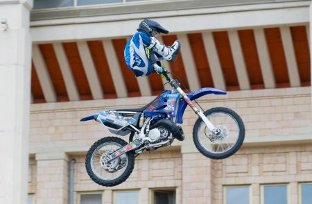 anton: RUSSIA, MOSCOW-JULY 13: motofristayler Anton Smirnov at the sports festival Moscow City Games 2013 in the program Moto Freestyle (FMX) in Moscow, Arena Luzhniki�; on July 13, 2013