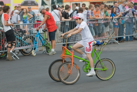 SIA, MOSCOW-JULY 13: Everyone wishing is given the opportunity to ride on makeshift unusual bikes on the Sports festival