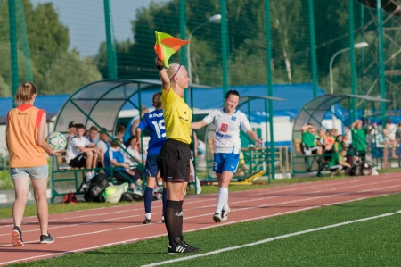 MOSCOW - AUGUST 18 The judge woman in action on game Kubanochka vs CSP Izmailovo on Russian tournament of wemen football league on August 18, 2013, in Moscow, Russia