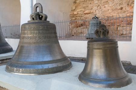 novgorod: Ancient bells in the Kremlin of Novgorod Velikiy (literally Novgorod the Great) Stock Photo