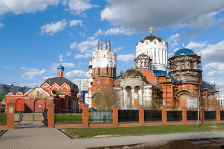 sanctification: Construction of the Church of Saints Cathedral in Moscow Bibirevo, Moscow, Russia Stock Photo