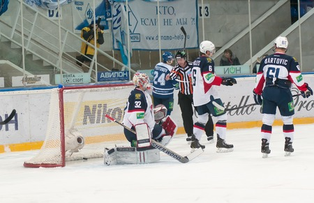 janus: MOSCOW - JANUARY 28: Goaltender Jaroslav Janus (Slovan 32) misses a goal during the KHL regular Hockey match Dynamo (Moscow) - Slovan (Bratislava) in sports palace Luzhniki. Final score 2:3