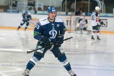 dynamo: MOSCOW - JANUARY 28: Defenseman Dmitry Vishnevsky (Dynamo 55) during the KHL regular Hockey match Dynamo (Moscow) - Slovan (Bratislava) in sports palace Luzhniki. Final score 2:3 Editorial