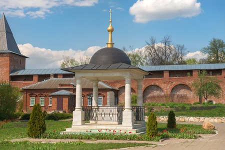 forerunner: Gravestone monument to Prince Fyodor, his wife Eupraxia and their son  Ivan (1655, recovery In 2002). Zaraysk Kremlin. Moscow region. The only monument in the world - the victims of the Mongol yoke Editorial