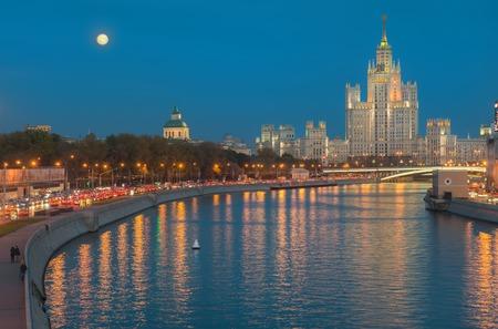 kotelnicheskaya embankment: Stalin Skyscraper on Kotelnicheskaya Embankment of the Moscow River, Moscow, Russia