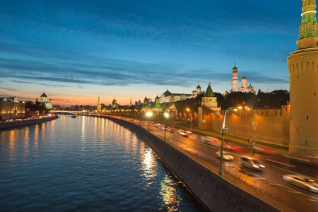 Night view of Moscow Kremlin in the summer, Russia Stock Photo