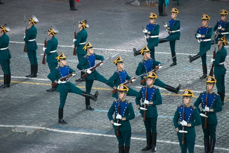 spasskaya: MOSCOW, RUSSIA - SEPTEMBER 7. the honor guard of the Presidential Regiment at the Military Music Festival Spasskaya Tower on in Red Square in Moscow on September 7, 2014.