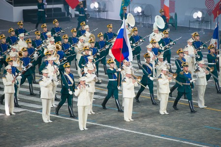 MOSCOW, RUSSIA - SEPTEMBER 7. The Presidential Orchestra of the Moscow Kremlin Commandant Service Federal Protective Service, and the honor guard of the Presidential Regiment at the Military Music Festival Spasskaya Tower on in Red Square in Moscow on Sep