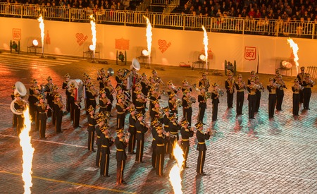MOSCOW, RUSSIA - SEPTEMBER 7. Exemplary Military Orchestra of Russia at the Military Music Festival Spasskaya Tower on in Red Square in Moscow on September 7, 2014.