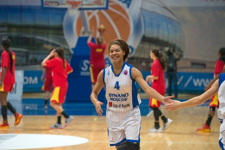 maccabi: MOSCOW  DECEMBER 4, 2014: Katerina Keyru (4) on the International Europe bascketball league match Dynamo Moscow vs Maccabi Ashdod Israel in sport palace Krilatskoe, Moscow, Russia. Dynamo loss 59:67
