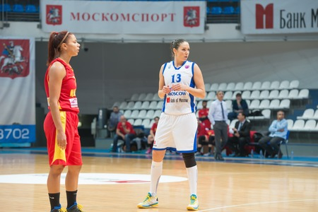 maccabi: MOSCOW  DECEMBER 4, 2014: Irina Sokolovskaya (13) in action during the International Europe bascketball league match Dynamo Moscow vs Maccabi Ashdod Israel in sport palace Krilatskoe, Moscow, Russia. Dynamo loss 59:67