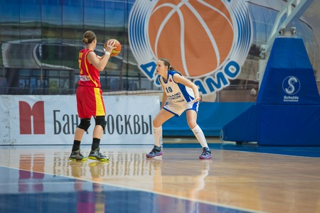 maccabi: MOSCOW  DECEMBER 4, 2014:  Some players on the International Europe bascketball league match Dynamo Moscow vs Maccabi Ashdod Israel in sport palace Krilatskoe, Moscow, Russia. Dynamo loss 59:67