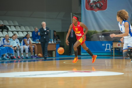 ashdod: MOSCOW  DECEMBER 4, 2014: L. Jackson (12) on the International Europe bascketball league match Dynamo Moscow vs Maccabi Ashdod Israel in sport palace Krilatskoe, Moscow, Russia. Dynamo loss 59:67 Editorial