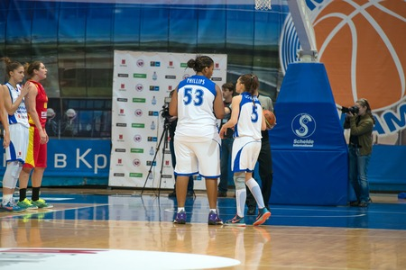 ashdod: MOSCOW  DECEMBER 4, 2014:  Some players on the International Europe bascketball league match Dynamo Moscow vs Maccabi Ashdod Israel in sport palace Krilatskoe, Moscow, Russia. Dynamo loss 59:67