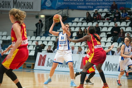 MOSCOW  DECEMBER 4, 2014: A. Petrakova (31) on the International Europe bascketball league match Dynamo Moscow vs Maccabi Ashdod Israel in sport palace Krilatskoe, Moscow, Russia. Dynamo loss 59:67