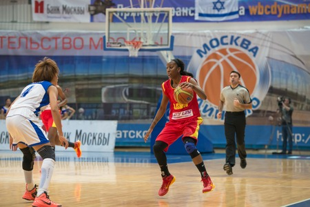 maccabi: MOSCOW  DECEMBER 4, 2014: K. Keyru (4) vs D. Hightower (6) on the International Europe bascketball league match Dynamo Moscow vs Maccabi Ashdod Israel in sport palace Krilatskoe, Moscow, Russia. Dynamo loss 59:67