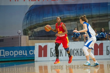 ashdod: MOSCOW  DECEMBER 4, 2014:  D. Hightower (6) Maccabi Ashdod Israel on the International Europe bascketball league match vs Dynamo Moscow in sport palace Krilatskoe, Moscow, Russia. Dynamo loss 59:67