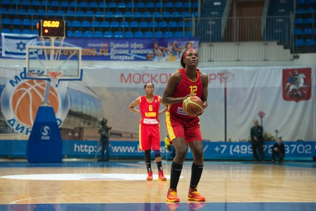 maccabi: MOSCOW  DECEMBER 4, 2014: L. Jackson (12) on free throw oi the International Europe bascketball league match Dynamo Moscow vs Maccabi Ashdod Israel in sport palace Krilatskoe, Moscow, Russia. Dynamo loss 59:67