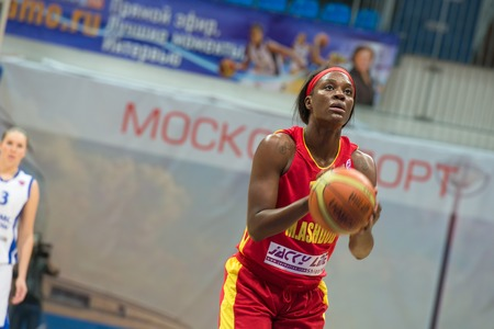ashdod: MOSCOW  DECEMBER 4, 2014: L. Jackson (12) on free throw oi the International Europe bascketball league match Dynamo Moscow vs Maccabi Ashdod Israel in sport palace Krilatskoe, Moscow, Russia. Dynamo loss 59:67
