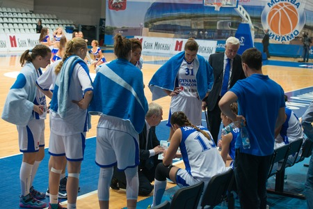 ashdod: MOSCOW  DECEMBER 4, 2014: Dynamo Moscow team on timeout on the International Europe bascketball league match Dynamo Moscow vs Maccabi Ashdod Israel in sport palace Krilatskoe, Moscow, Russia. Dynamo loss 59:67 Editorial