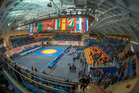 sambo: RUSSIA, MOSCOW - MARCH 27: Stadium Druzhba in wide angle view just before The World Sambo Championship Kharlampiev memorial in Luzhniki sport palace, Moscow, Russia, 2015