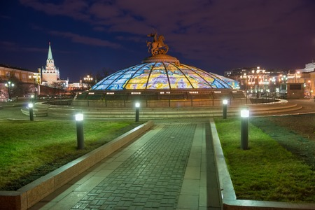 Manezh Square in central Moscow in the late evening