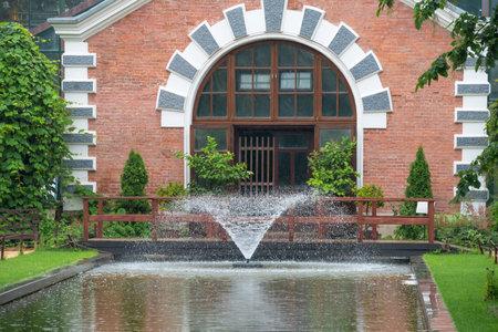 garden fountain: Moscow. Botanical Garden of Moscow State University (Pharmaceutical Garden). Fountain.