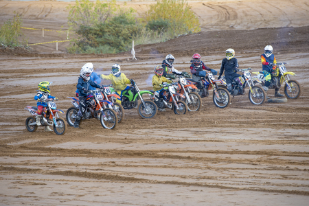 mini bike: MOSCOW-OCTOBER 10: Athletes at the start, class 50 cc, in the 5 stage of the XSR-MOTO.RU Cross Country in Moscow, Park Velyaminovo; on October 10, 2015