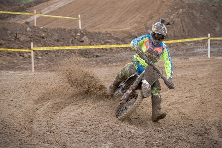 super cross: MOSCOW-OCTOBER 10: David Leonov 156 (Terehovo 13, Moscow), class MOTO, in the 5 stage of the XSR-MOTO.RU Cross Country in Moscow, Park Velyaminovo; on October 10, 2015