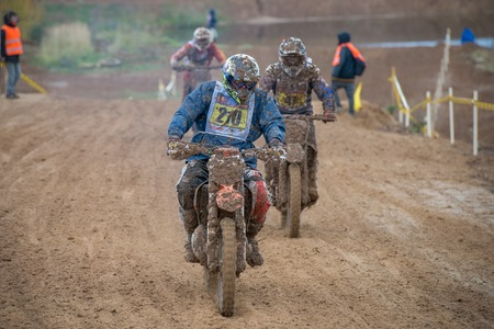super cross: MOSCOW-OCTOBER 10: Izotov Maxim 210 (Kaluga), class MOTO, in the 5 stage of the XSR-MOTO.RU Cross Country in Moscow, Park Velyaminovo; on October 10, 2015 Editorial