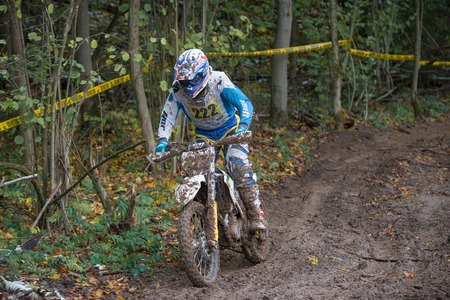 super cross: MOSCOW-OCTOBER 10: Sergei Churygin 222 (BRaT, Moscow), class MOTO, in the 5 stage of the XSR-MOTO.RU Cross Country in Moscow, Park Velyaminovo; on October 10, 2015 Editorial