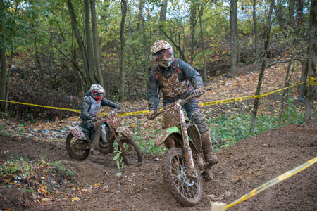 super cross: MOSCOW-OCTOBER 10: Unidentified riders at the track, class MOTO, in the 5 stage of the XSR-MOTO.RU Cross Country in Moscow, Park Velyaminovo; on October 10, 2015