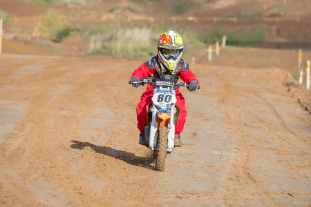 cc: MOSCOW-OCTOBER 10: Alexander Mironov 80 (Zelenograd), class 50 cc, in the 5 stage of the XSR-MOTO.RU Cross Country in Moscow, Park Velyaminovo; on October 10, 2015 Editorial