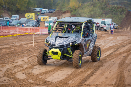supercross: MOSCOW-OCTOBER 10: Nikita Oreshkin 98 (Moscow), class UTV, in the 5 stage of the XSR-MOTO.RU Cross Country in Moscow, Park Velyaminovo; on October 10, 2015
