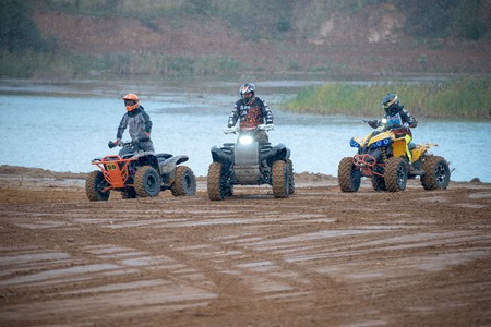 supercross: MOSCOW-OCTOBER 10: Unidentified riders at the track, class ATV, UTV, 4x4, in the 5 stage of the XSR-MOTO.RU Cross Country in Moscow, Park Velyaminovo; on October 10, 2015 Editorial