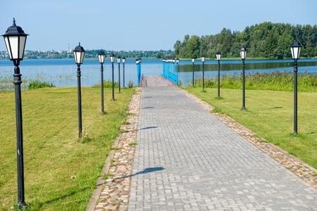 main gate: Pier at the main gate of The Valdai Iver Svyatoozersky Virgin Monastery.