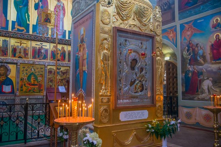orthodoxy: The Valdai Iver Svyatoozersky Virgin Monastery. Interior Iversky Cathedral and The miracle-working icon of the Blessed Virgin of Iver