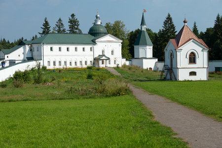 the righteous: The Valdai Iver Svyatoozersky Virgin Monastery. Church of the Holy Righteous JAMES Borovichskye and sick cells and the refectory in 1702 Stock Photo