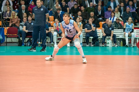 women's volleyball game: MOSCOW, RUSSIA - DECEMBER 2: Antonella Del Kore (Dynamo (KZN) 15, while playing on womens Rissian volleyball Championship game Dynamo (MSC) vs Dynamo (KZN) at the Luzhniki stadium in Moscow, Russia. Kazan won in serie 3: 2