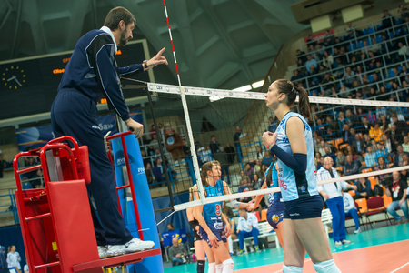 women's volleyball game: MOSCOW, RUSSIA - DECEMBER 2: E. Gamova (Dynamo (KZN) 11, while playing on womens Rissian volleyball Championship game Dynamo (MSC) vs Dynamo (KZN) at the Luzhniki stadium in Moscow, Russia. Kazan won in serie 3: 2