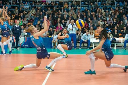 women's volleyball game: MOSCOW, RUSSIA - DECEMBER 2: The head coach of Dynamo (MSC) Yury Panchenko on womens Rissian volleyball Championship game Dynamo (MSC) vs Dynamo (KZN) at the Luzhniki stadium in Moscow, Russia. Kazan won in serie 3: 2 Editorial