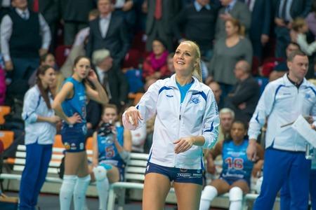 women's volleyball game: MOSCOW, RUSSIA - DECEMBER 2: Julia Morozova (Dynamo (MSC) on the training on womens Rissian volleyball Championship game Dynamo (MSC) vs Dynamo (KZN) at the Luzhniki stadium in Moscow, Russia. Kazan won in serie 3: 2
