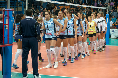 women's volleyball game: MOSCOW, RUSSIA - DECEMBER 2: Team Dynamo (KZN) while playing on womens Rissian volleyball Championship game Dynamo (MSC) vs Dynamo (KZN) at the Luzhniki stadium in Moscow, Russia. Kazan won in serie 3: 2