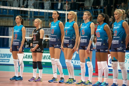 women's volleyball game: MOSCOW, RUSSIA - DECEMBER 2: Team Dynamo before the game on womens Rissian volleyball Championship game Dynamo (MSC) vs Dynamo (KZN) at the Luzhniki stadium in Moscow, Russia. Kazan won in serie 3: 2