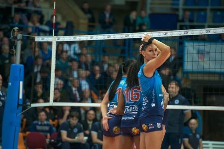 women's volleyball game: MOSCOW, RUSSIA - DECEMBER 2: N. Obmochaeva (Dynamo (MSC) 8 while playing on womens Rissian volleyball Championship game Dynamo (MSC) vs Dynamo (KZN) at the Luzhniki stadium in Moscow, Russia. Kazan won in serie 3: 2