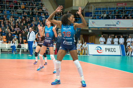 women's volleyball game: MOSCOW, RUSSIA - DECEMBER 2: Fernanda Garay Rodriguez (Dynamo (MSC) 16, while playing on womens Rissian volleyball Championship game Dynamo (MSC) vs Dynamo (KZN) at the Luzhniki stadium in Moscow, Russia. Kazan won in serie 3: 2