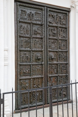 reportedly: Famous bronze west entrance gates of St.Sophia Cathedral in Veliky Novgorod allegedly made in Magdeburg in 1156 and reportedly snatched by Novgorodians from Swedish town of SIguna in 1187
